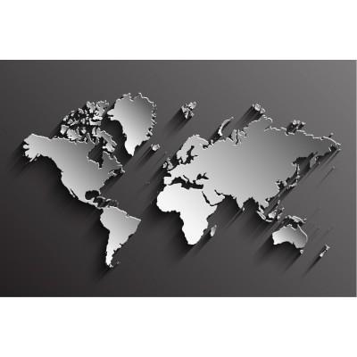 Siyah Zemin Üzeri Gri Dünya Harita Ofis Harita Duvar Kağıdı